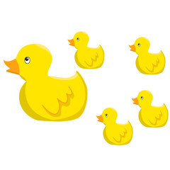 Yellow ducks group cartoon