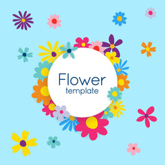 Spring, Summer flower vector template with transparent shadows.