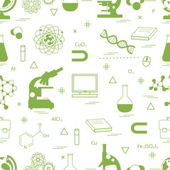 Seamless pattern with variety scientific, education elements: globe, microscope,magnet, flask, molecule and other.