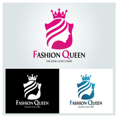 Fashion queen logo design template. Vector illustration