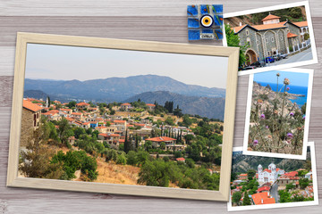 Beautiful snapshots of various Cyprus landscapes, villages, monastery in wooden frames arranged on rustic background