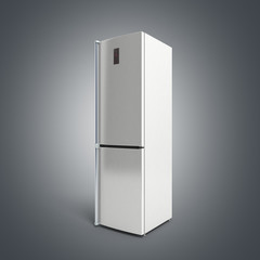 Stainless steel modern refrigerator 3d illustration on grey