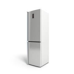 Stainless steel modern refrigerator on white 3d illustration