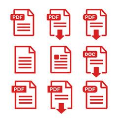 PDF file, web icon. design set