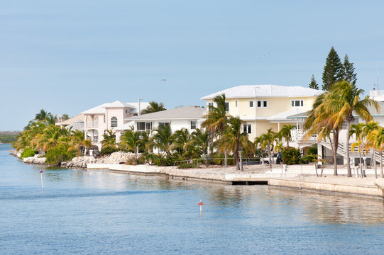 Waterfront villas on one of the island of Florida Keys, USA