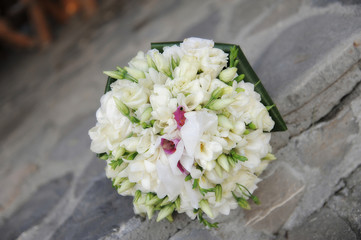 Beautiful wedding round spring flowers bouquet