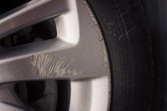 Car wheels scuffing waiting in repair. selective focus.