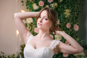 Attractive bride in studio