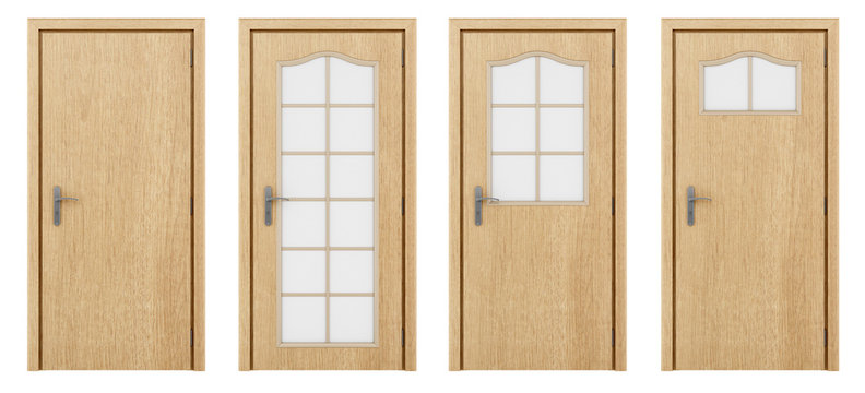 wooden door isolated on white background