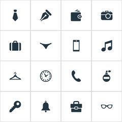 Vector Illustration Set Of Simple Instrument Icons. Elements Billfold, Underwear, Digital Camera And Other Synonyms Musical, Underwe