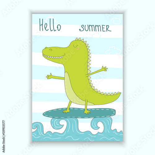 cute hand drawn vector card withsurf crocodile afloat printable