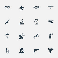 Vector Illustration Set Of Simple Battle Icons. Elements Sky Force, Pistol, Extinguisher And Other Synonyms Aviation, Offender And Binoculars.