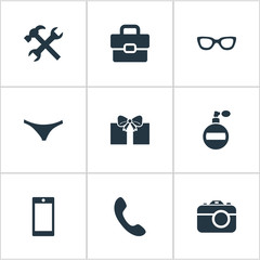 Vector Illustration Set Of Simple  Icons. Elements Mobile Phone, Repair, Fragrance And Other Synonyms Give, Panties And Bag.