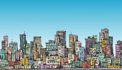 Cityscape. Hand drawn vector. Vector illustration