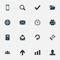 Vector Illustration Set Of Simple Application Icons. Elements Message, Statistics, Envelope And Other Synonyms Up, Sphere And Open.