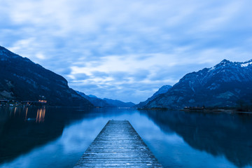 Mountain lake. Switzerland. Mountain lake landscape in the evening. Long exposure. Blue Hour