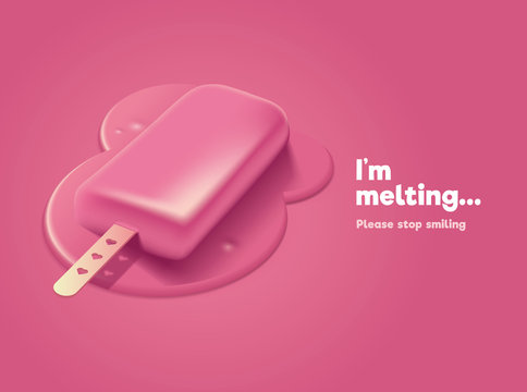 Pink melting ice cream with 3d effect
