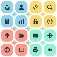 Vector Illustration Set Of Simple Practice Icons. Elements Message, User, Printout And Other Synonyms Bar, PC And Profile.