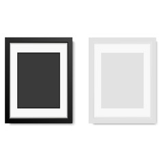 Realistic white  and black frame  isolated on white background. vector illustration