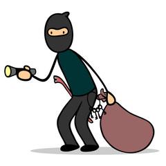 Einbrecher oder Dieb mit Taschenlampe