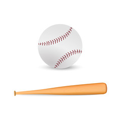 Realistic baseball bat and baseball  on white background. Vector