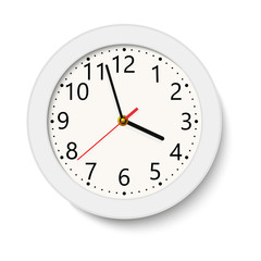 Classic white round wall clock isolated on white . Vector illustration