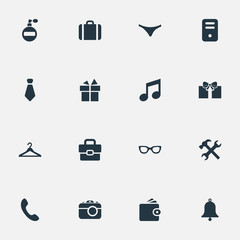 Vector Illustration Set Of Simple Accessories Icons. Elements Fragrance, Music, Gift And Other Synonyms Necktie, Hook And Switchboard.