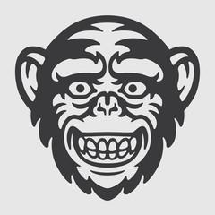 Happy Ape Chimpanzee Head Logo Mascot Emblem