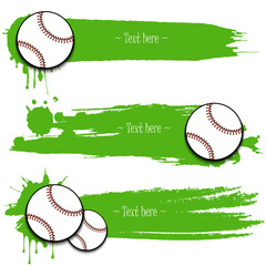 Set of hand drawn grunge banners with baseball