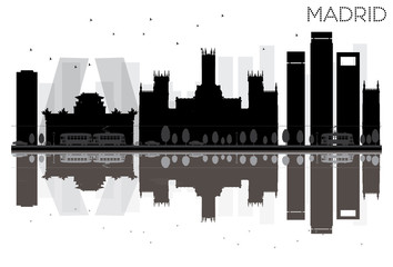 Madrid City skyline black and white silhouette with reflections.