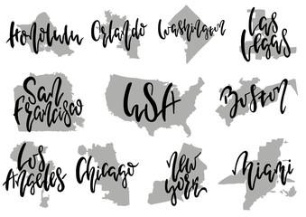 Hand drawn lettering 10 popular American cities. New York Boston Los Angeles San Francisco Miami Las Vegas Orlando Washington Chicago Honolulu. Illustration.