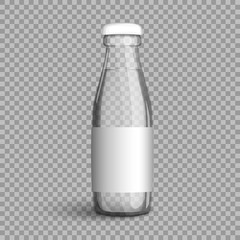 Transparent glass bottle with water on a transparent background