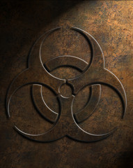 Biohazard symbol in a grungy, weathered dark orange texture with lighting from top right
