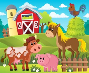Poster Ranch Farmland with animals theme 1