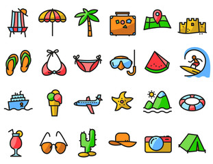 Summer beach icons set in line thin and simply style. Pictogram with recreation, travel and vacation objects.