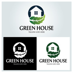 Green house logo design template. Vector illustration