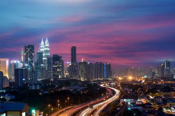 Canvas Prints Kuala Lumpur Kuala Lumpur skyline and skyscraper at night in Kuala Lumpur, Malaysia.