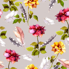 Roses, feathers. Retro design. Seamless pattern. Vintage watercolor