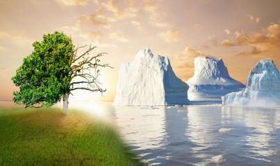Gletscher schmelzen Meeresspiegel steigt.