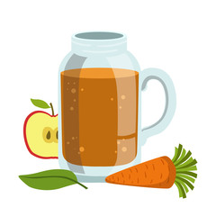 Apple And Carrot Smoothie, Non-Alcoholic Fresh Cocktail In A Glass And The Ingredients For It Vector Illustration
