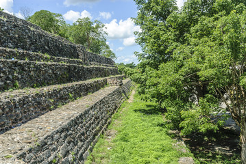 stairs of the ruins of the big pyramid Kinich kakmo of the city of Izamal in Yucatan, Mexico