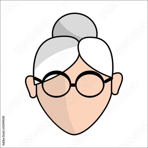 """""""people, Avatar Face Women With Glasses Icon"""" Stock Image"""