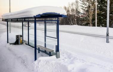 Bus stop in Kvaløya island, Norway