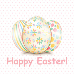 Colorful Happy Easter greeting card with eggs and text