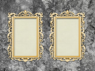 Two blank Baroque picture frames on gray concrete wall