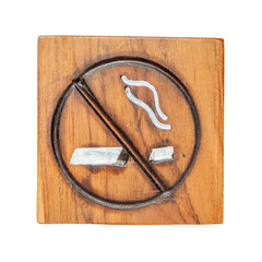 No smoking sign made from wooden carving with white background.