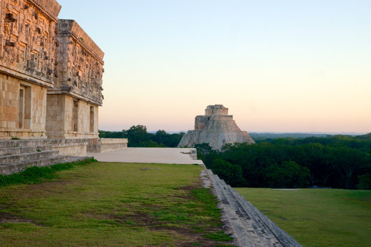 uxmal mayan temple ruins sunrise