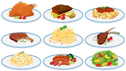 Different types of food on the plates