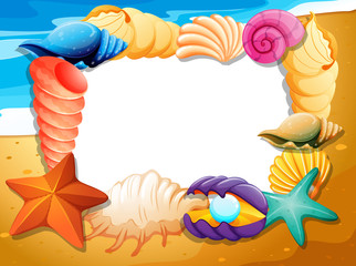 Border template with seashells on beach