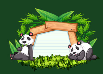 Border template with two pandas